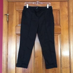 Black cropped work trousers